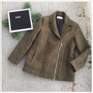 Zara Trafaluc Wool Blend Zip Coat
